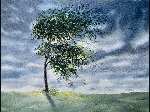 Интересное небо. Дерево на ветру. Акварель. Windy day in w ...