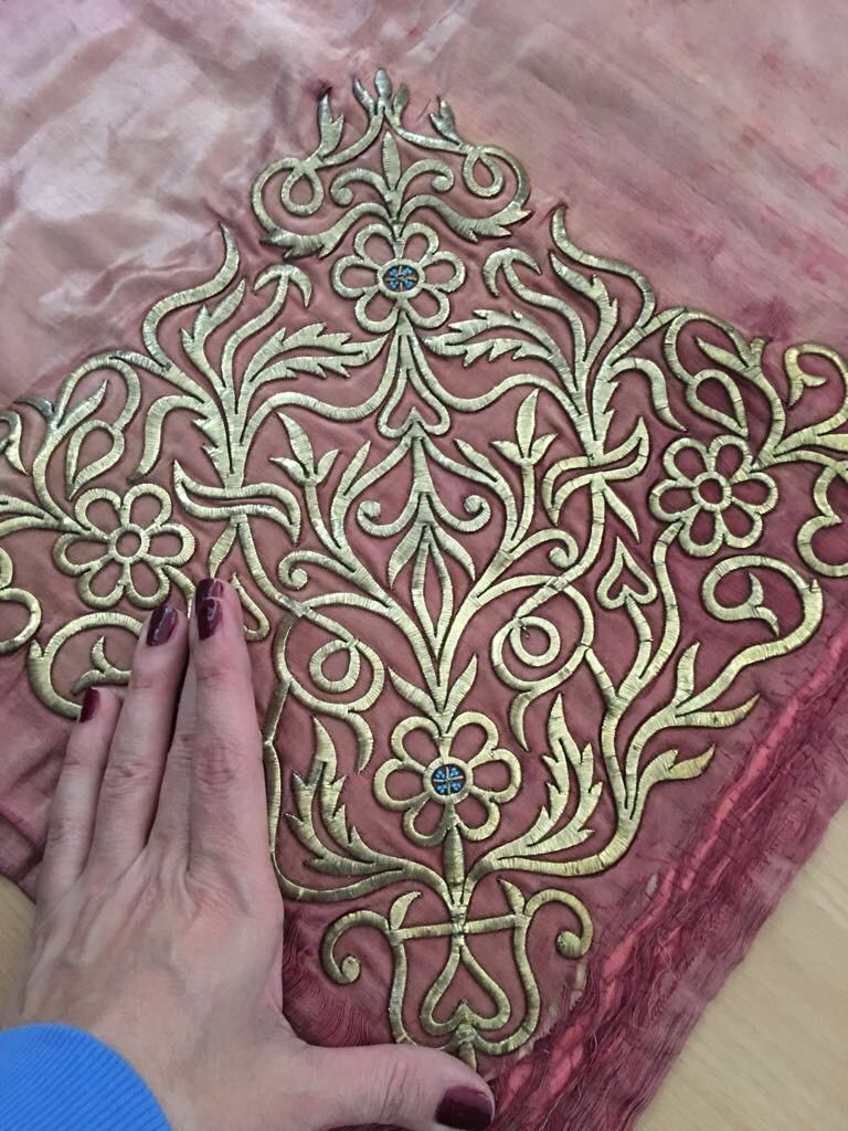 18th C Antique Ottoman Turkish Gold Metallic Hand Embroidery Silk