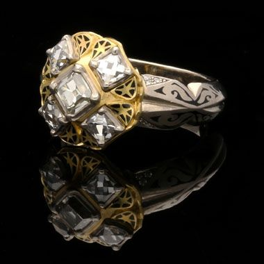 OTTO JAKOB germany.Contemporary.'Moth' white & rose gold, diamond & enamel ring