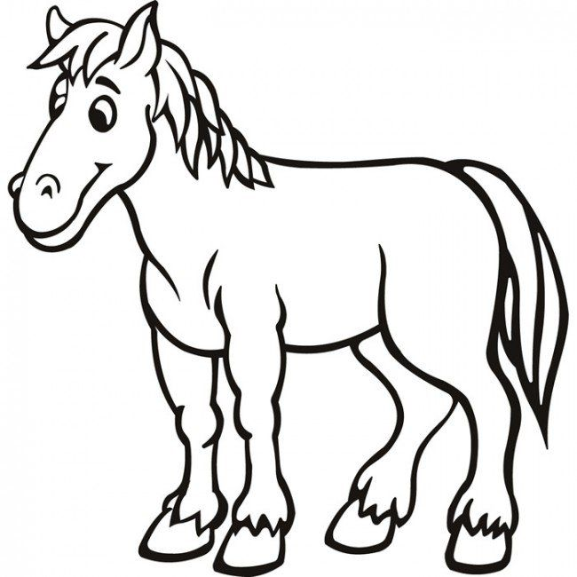 Horse Coloring Pages - Preschool And Kindergarten Horse Coloring Pages,  Animal Outline, Horse Coloring