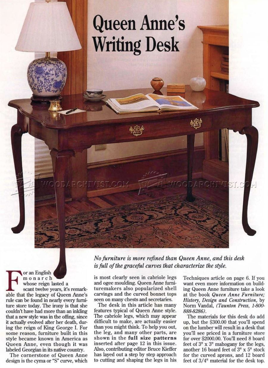 queen anne writing desk plans - furniture plans   idees   desk plans