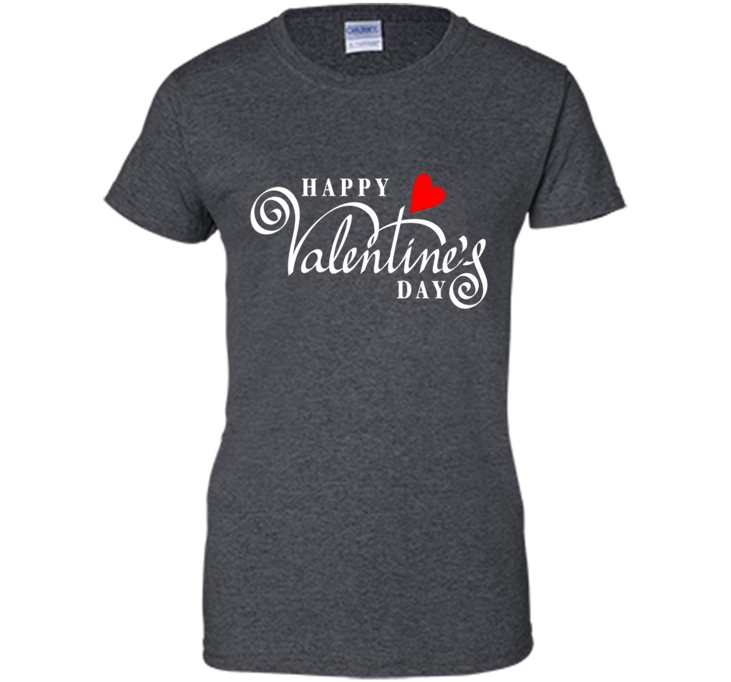 Happy Valentines Day T Shirt With Cool Cursive Font Heart
