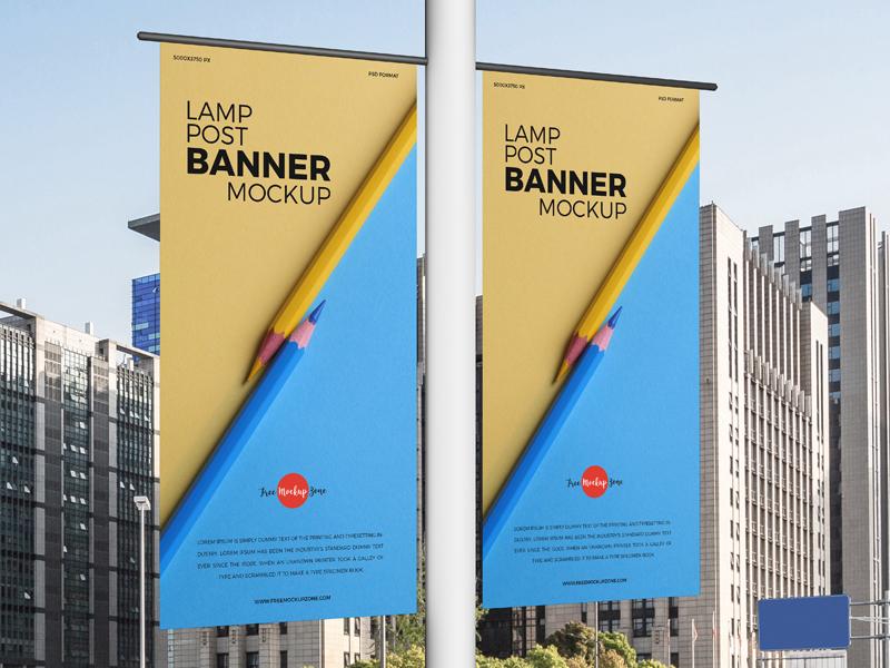 Free Lamp Post Banners Mockup Free Mockup Zonefree Mockup Zone Lamp Post Photoshop Design Banner