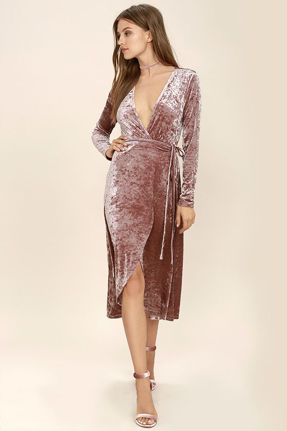 0adc1ef8b0dd The Enchant Me Blush Velvet Midi Wrap Dress is bewitchingly beautiful!  Crushed velvet is soft and stretchy across long sleeves and a wrapping  surplice ...