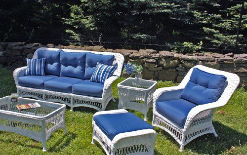 Princeton White Outdoor Wicker Set With Sunbrella Sapphire Blue