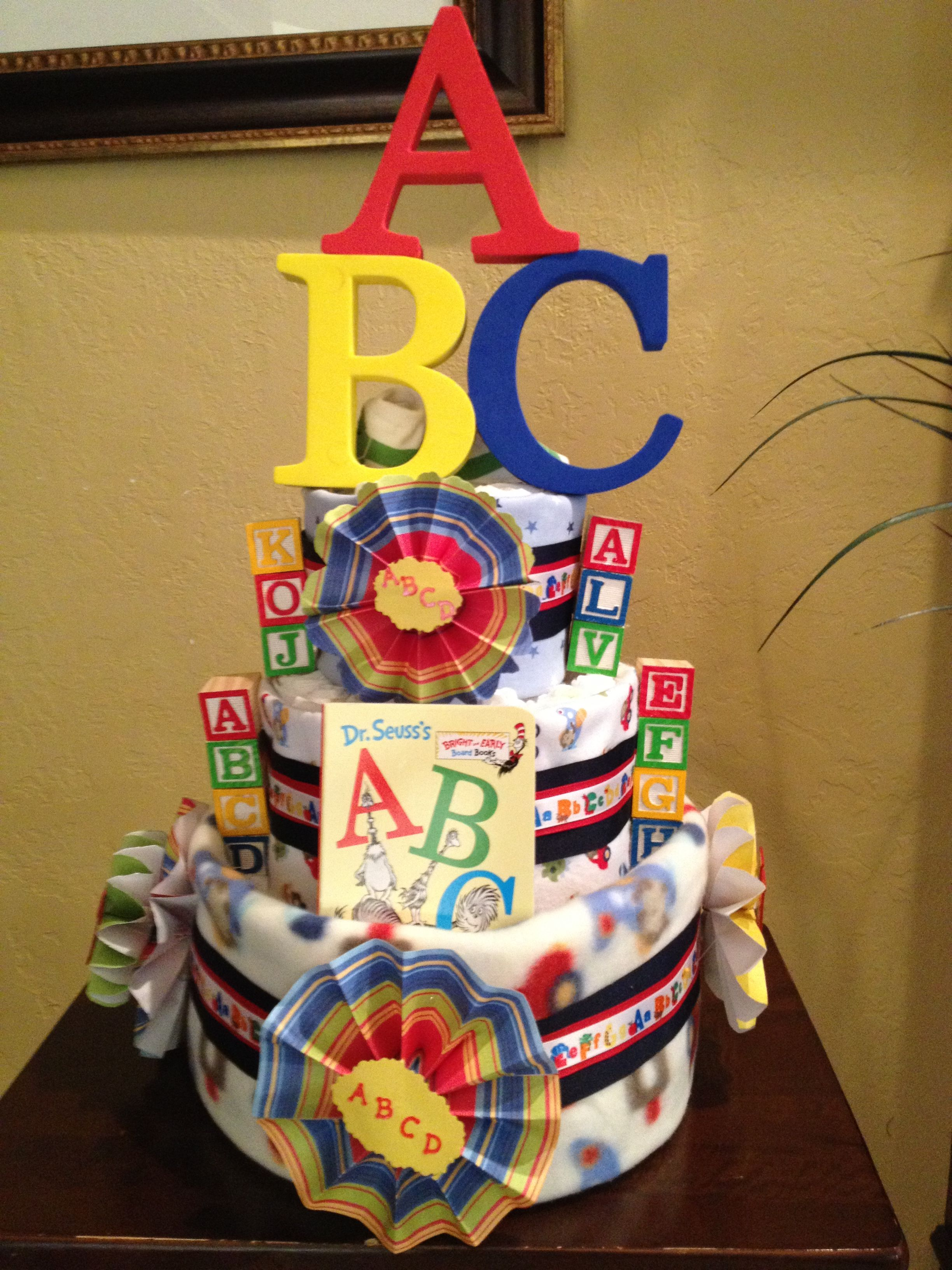 Baby Ideas Shower Ideas Abc Diaper Cake In Primary Colors
