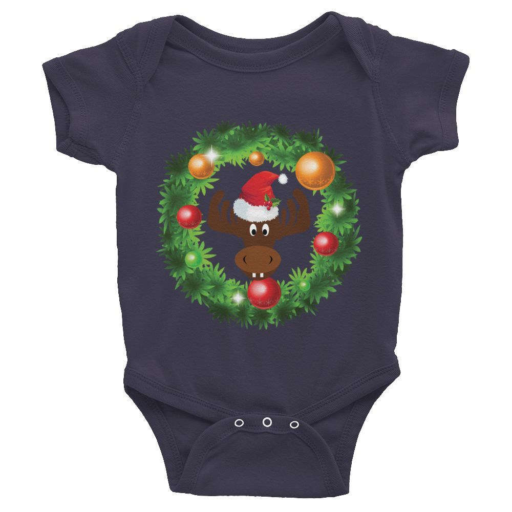 Baby Moose in a Wreath short sleeve one-piece