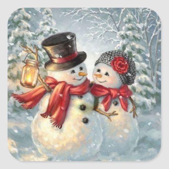 Pegatina Cuadrada Pares del muñeco de nieve del navidad | Zazzle.com