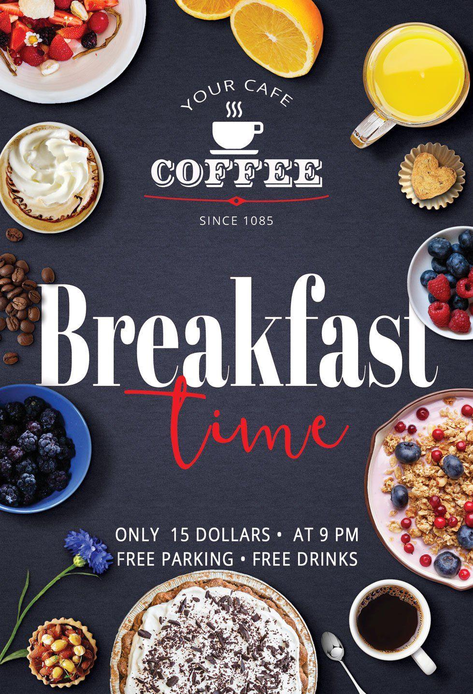 Breakfast time flyer in 2020 breakfast time breakfast food