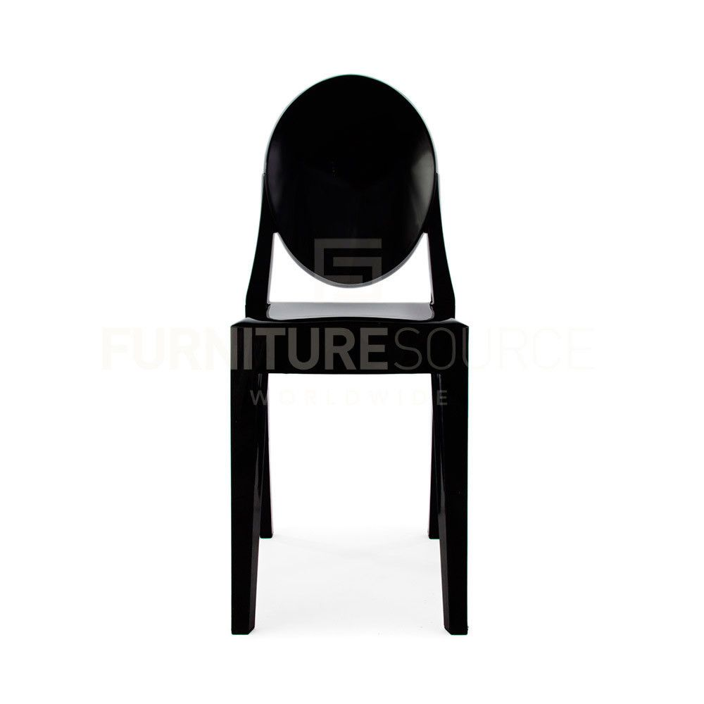 Philippe Starck Style Victoria Ghost Side Chair   Midnight Black Acrylic