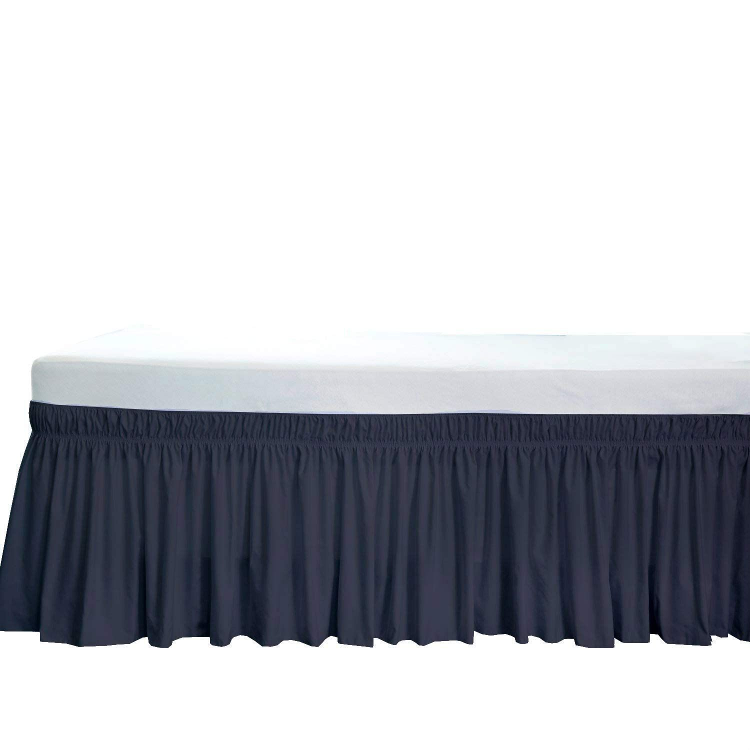 Spector Linens Easy On Off Twin Wrap Around Bed Skirt Solid Navy Blue With 30 Inch Drop Length 600 Thread Count 3 Side Cove Bedskirt Ruffle Bedding Dust Ruffle