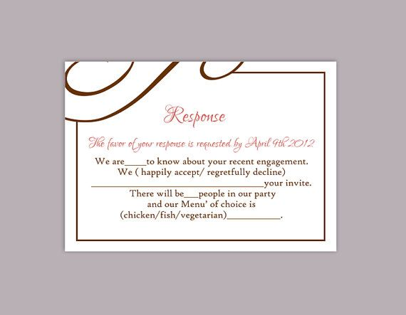 image regarding Printable Rsvp Card named Do it yourself Marriage RSVP Template Editable Words and phrases Phrase History Obtain