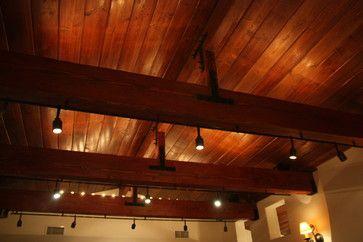 wood beam track lighting design ideas