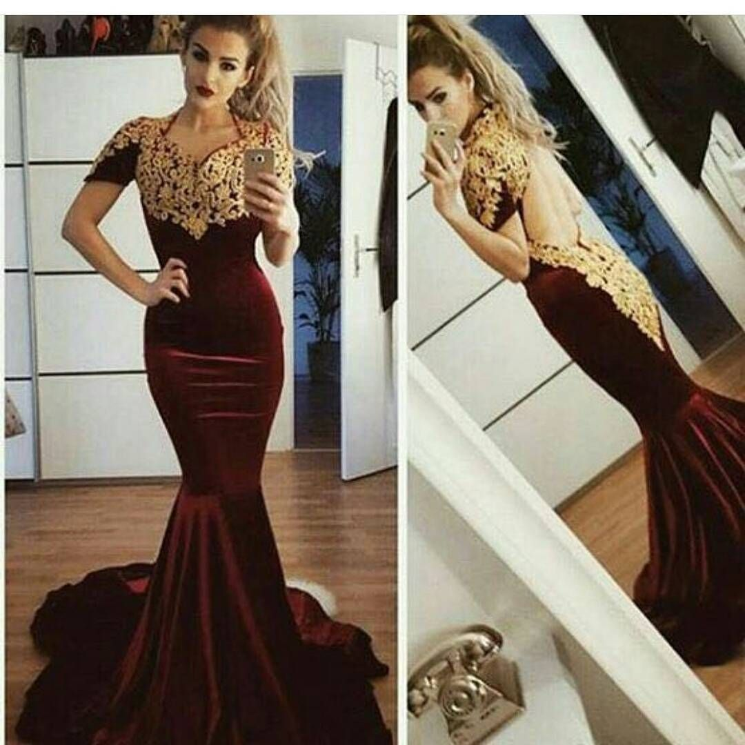 Arabic Style Velvet Mermaid Evening Dress 2018 Gold Lace Appliques Short  Sleeves Long Women Formal Gowns Backless Prom Dresses 4a183e452a38