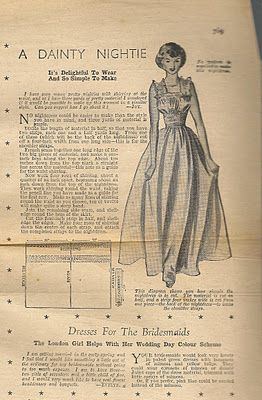 Debrafide: Sewing Pattern: A Dainty Nightie from Woman's Weekly Magazine, November 12 1949