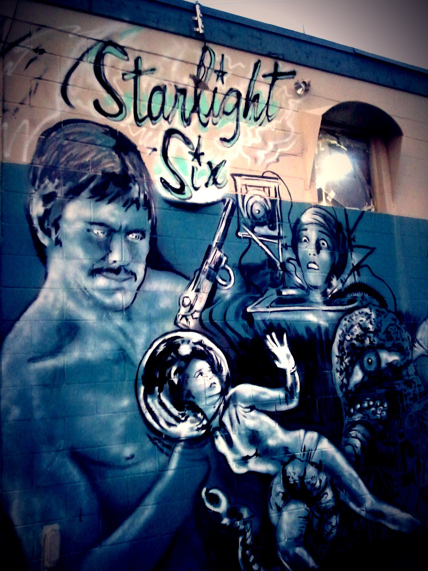 One of the murals at Starlight Six Drivein Theatre