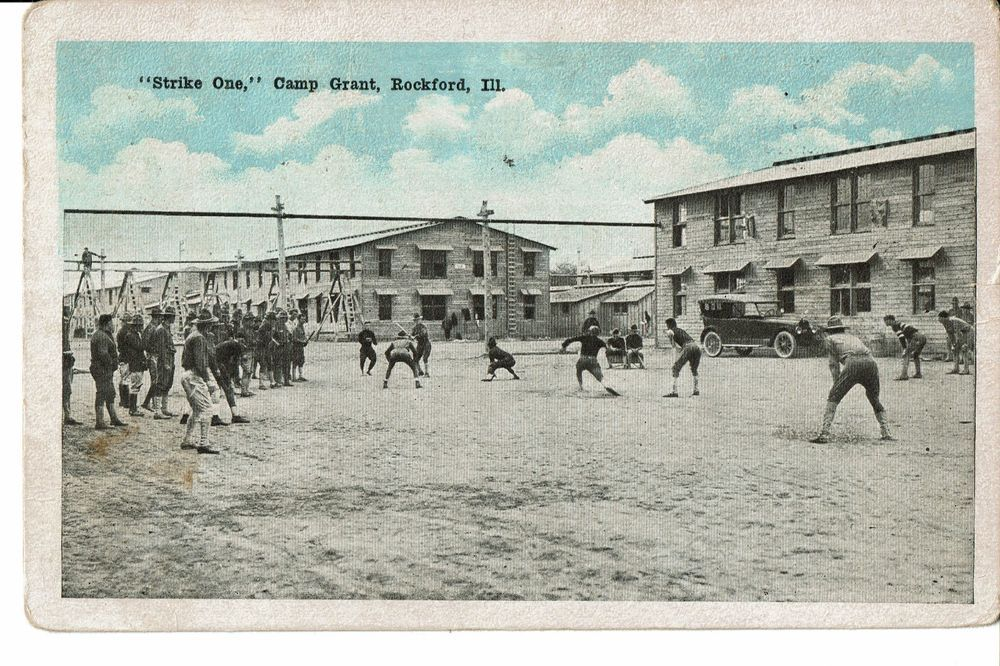 1918 Postcard Camp Grant Rockford Il Soldiers Playing Baseball Strike One Rockford Camping Rockford Illinois