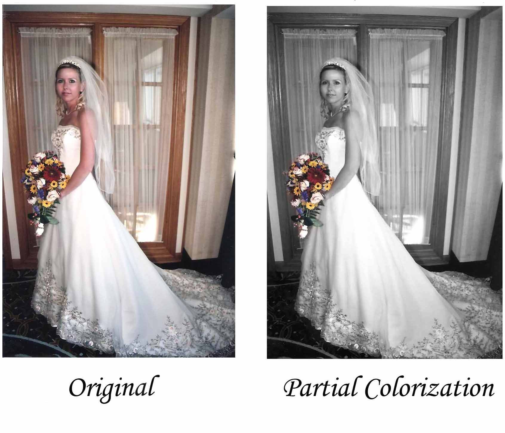 Wedding dress restoration  Partial Colorization  Blue Phoenix Photo Restorations  Pinterest
