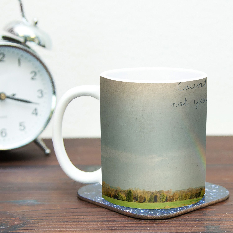 Count Rainbows by Robin Dickinson 11 oz. Typography Ceramic Coffee Mug