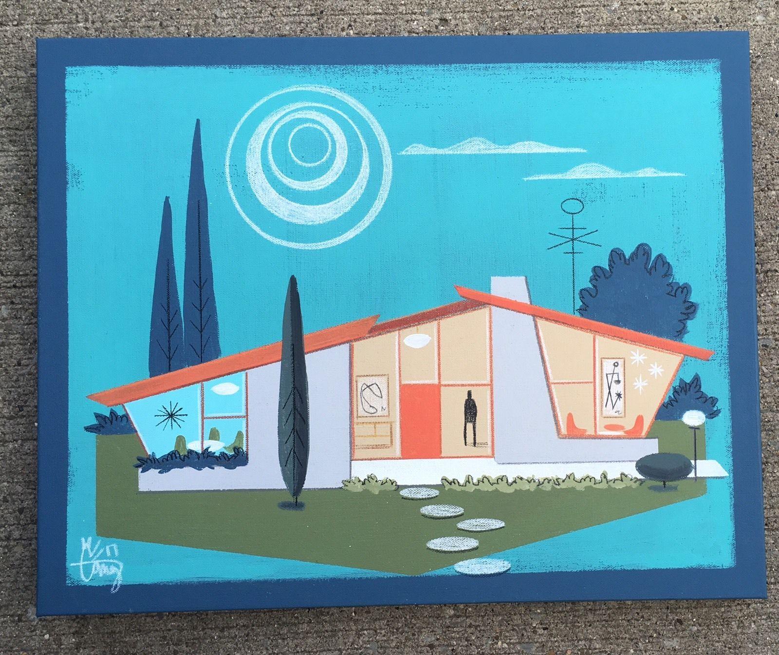 El Gato Gomez Painting Retro Mid Century Modern Atomic