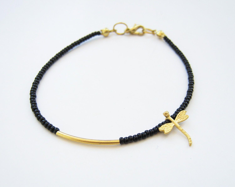 Gold Bar Bracelet Black Beaded Thin Bracelet 1000 Via