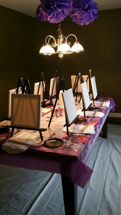 At home painting party for 8 year old's birthday party. So much fun. #sleepoverparty
