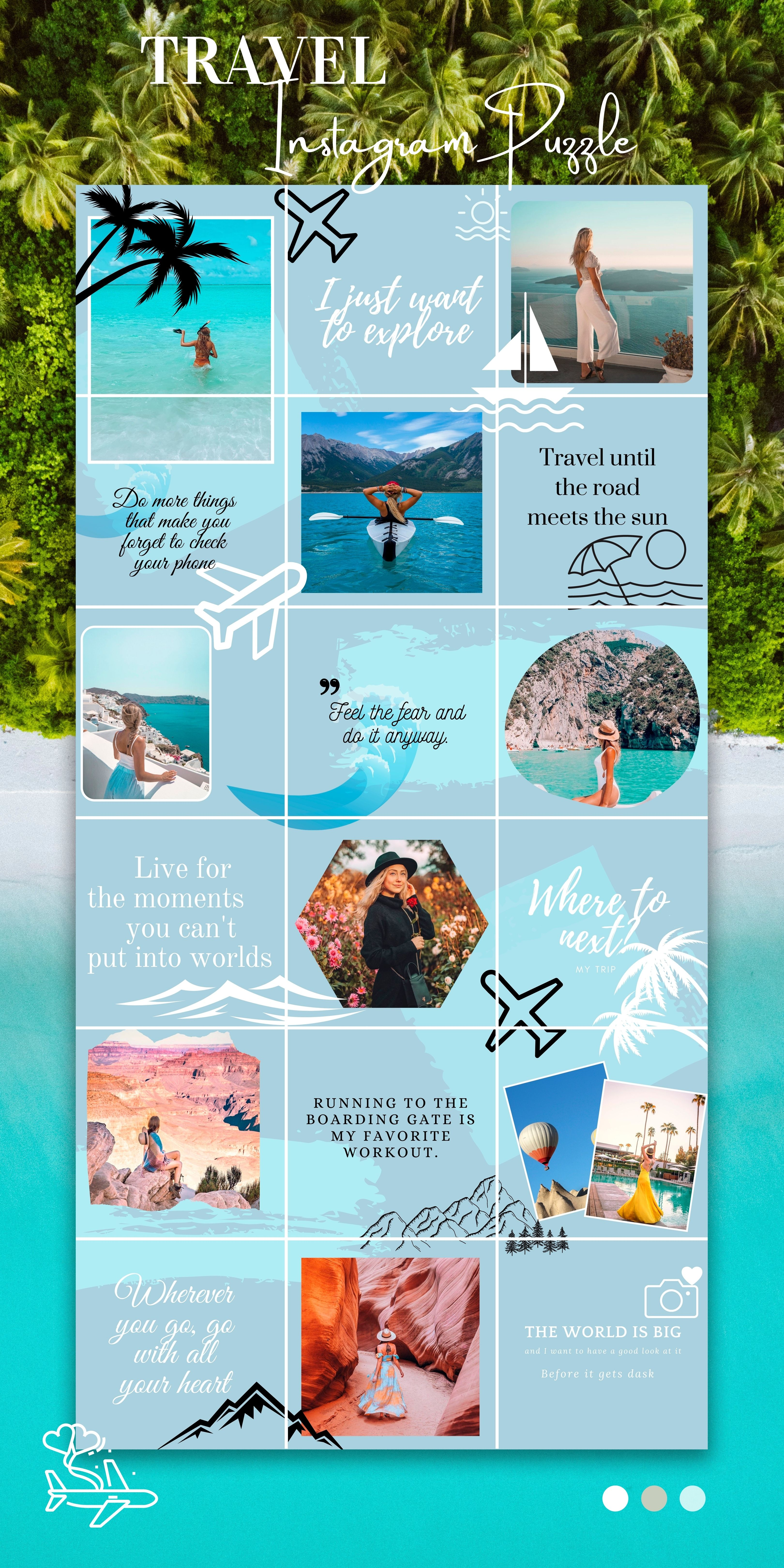 Blue Instagram Puzzle Feed Canva, Instagram for Tr