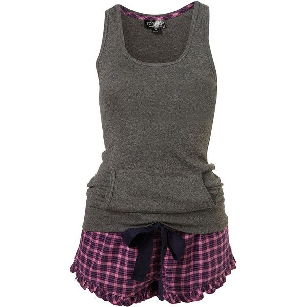 Check Frill Pj Shorts And Vest Set ($16) ❤ liked on Polyvore