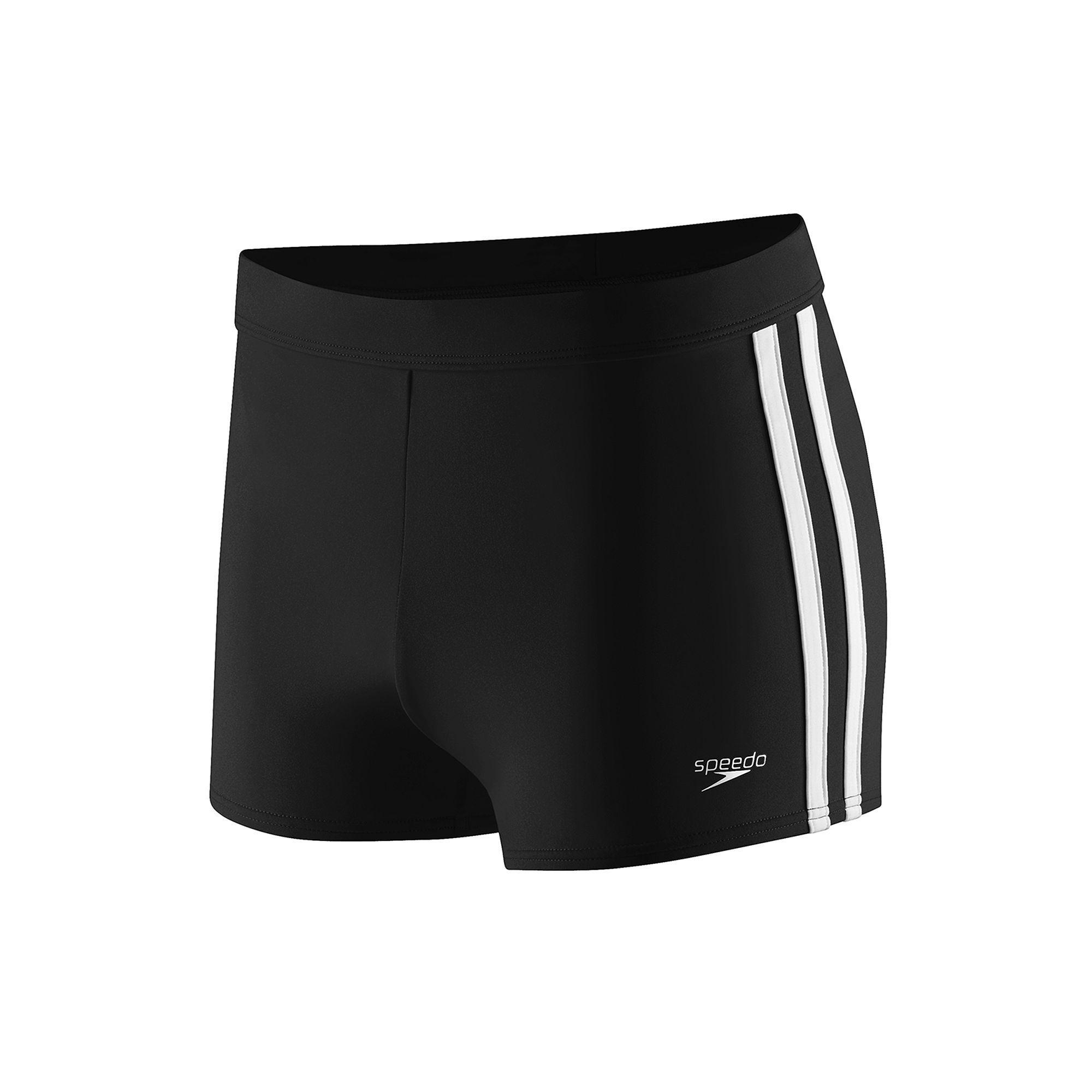 234d5f3e22 Speedo Shoreline Square Leg Side-Striped Athletic Swim Shorts - Men, Size:  Medium, Black