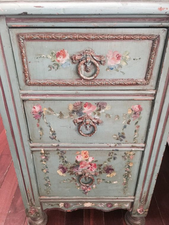 Rare Antique Hand Painted Rose Floral Wood By