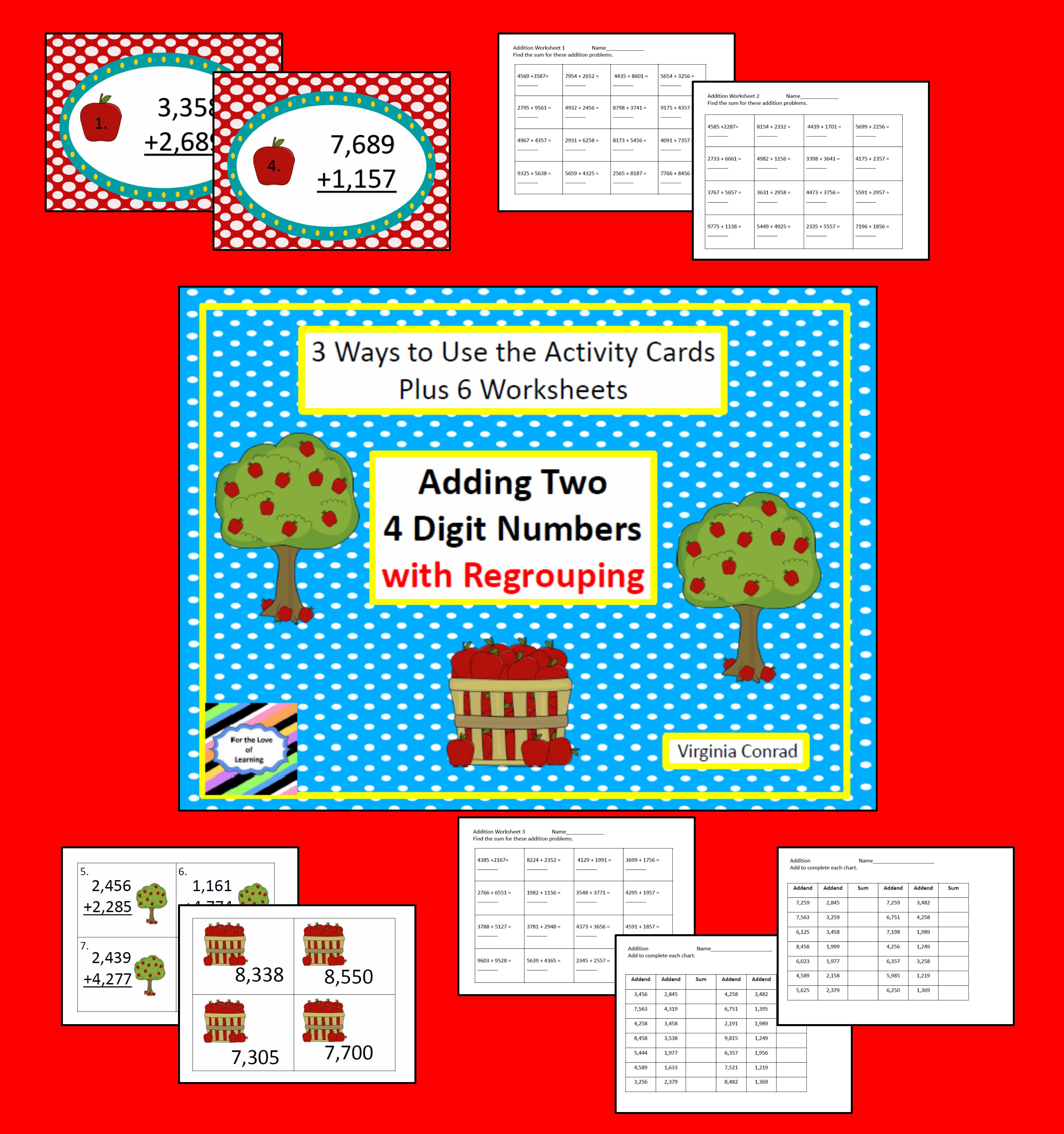 Adding 2 Four Digit Numbers Apple Theme With Images