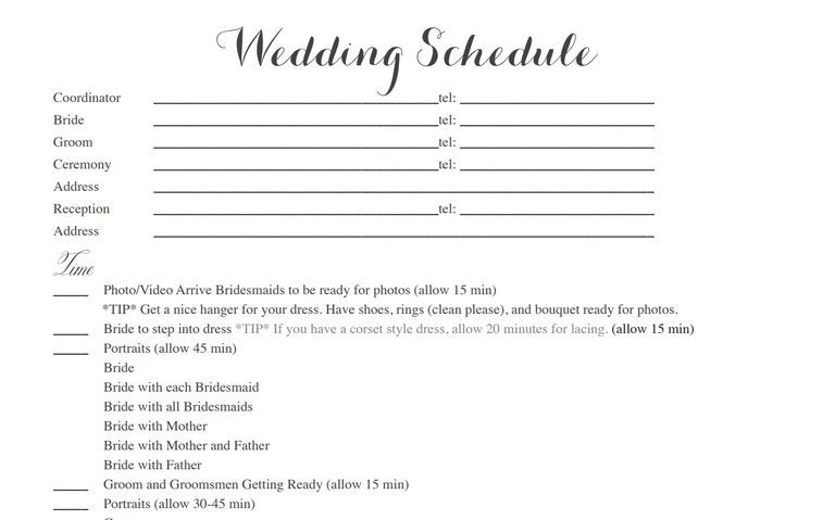 free wedding itinerary templates to help plan your big day wedding