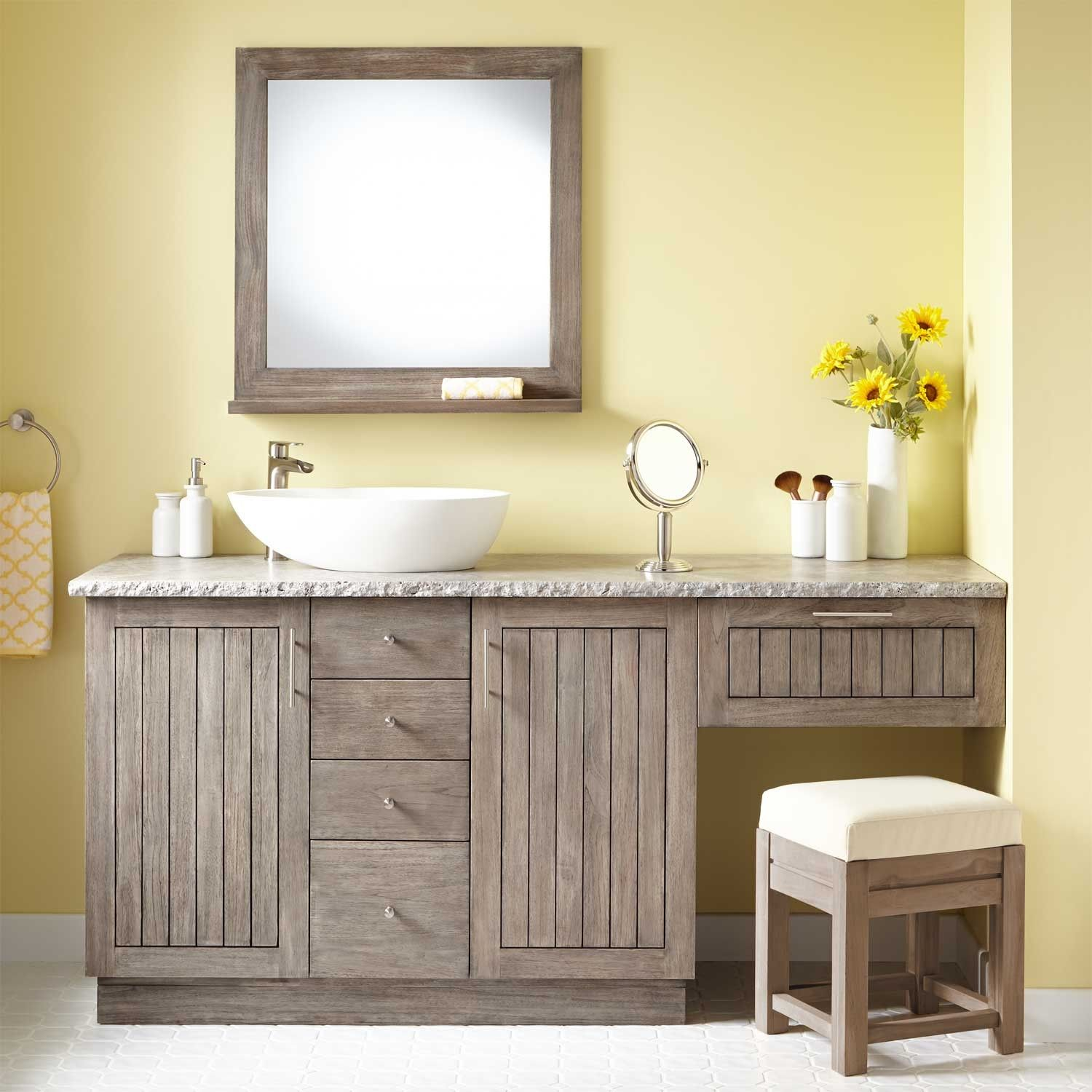 72 Montara Teak Vessel Sink Vanity With Makeup Area Gray Wash Vanities Bathroom