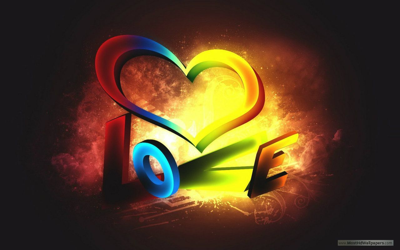 3d colorful love wallpaper 1080p | graphic design | love wallpaper