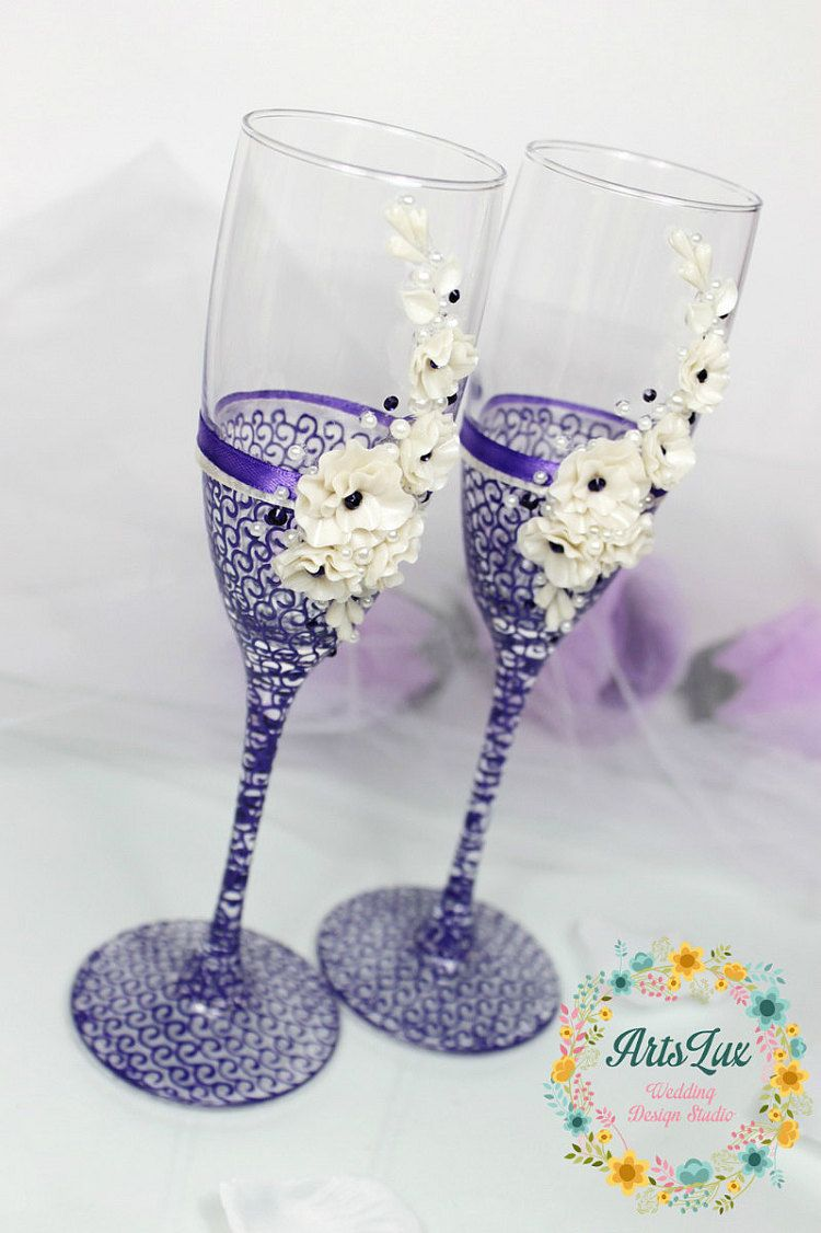 Wedding champagne glasses with beautiful flowers hand by ArtsLux ...
