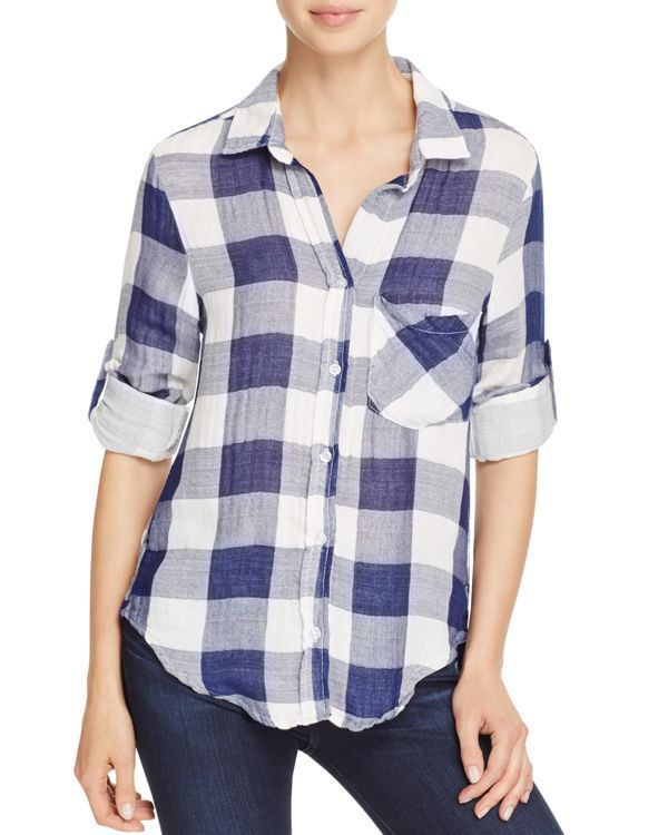 Side Stitch Roll Sleeve Check Shirt