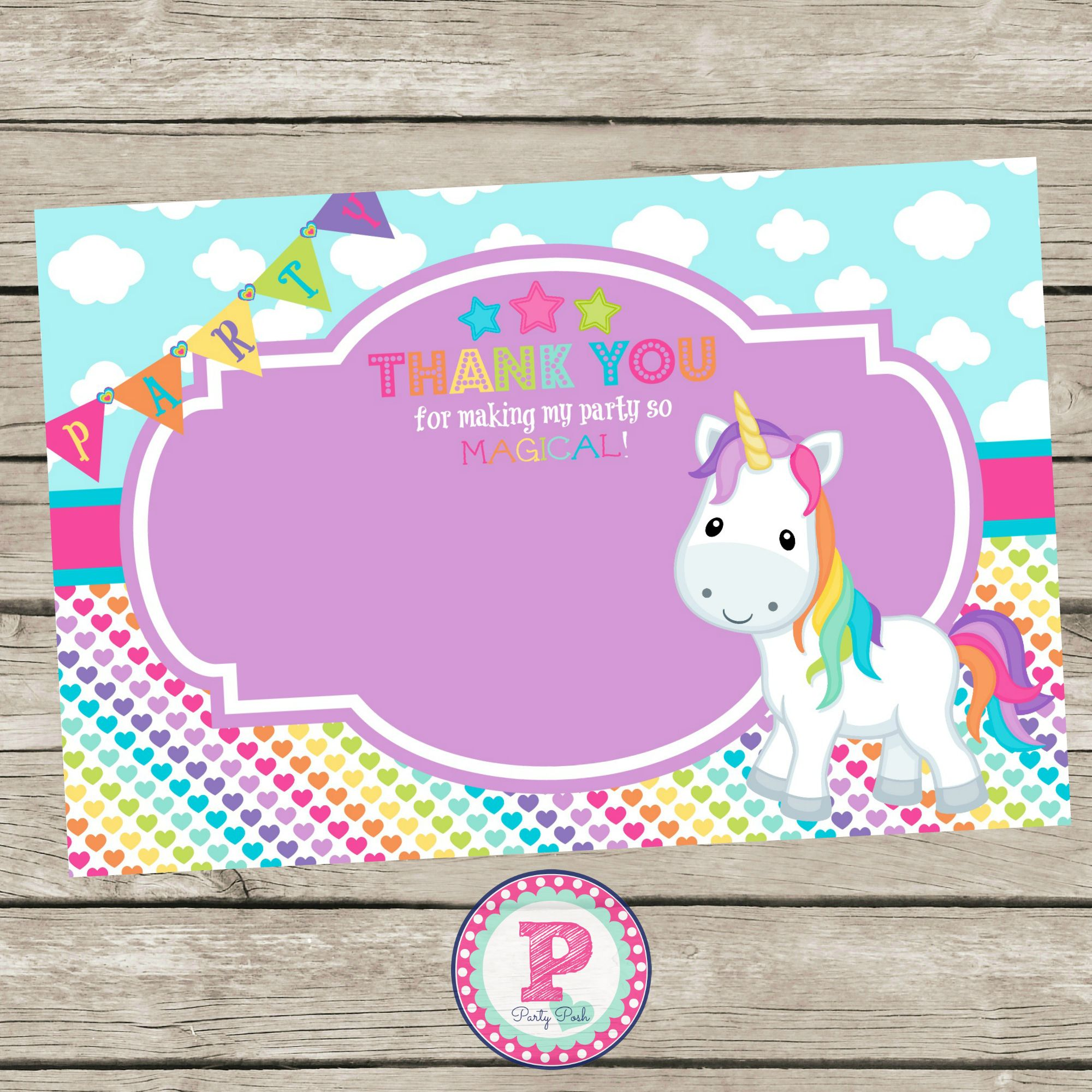 Unicorn And Rainbows Birthday Party Invitation Front Back Pink Aqua