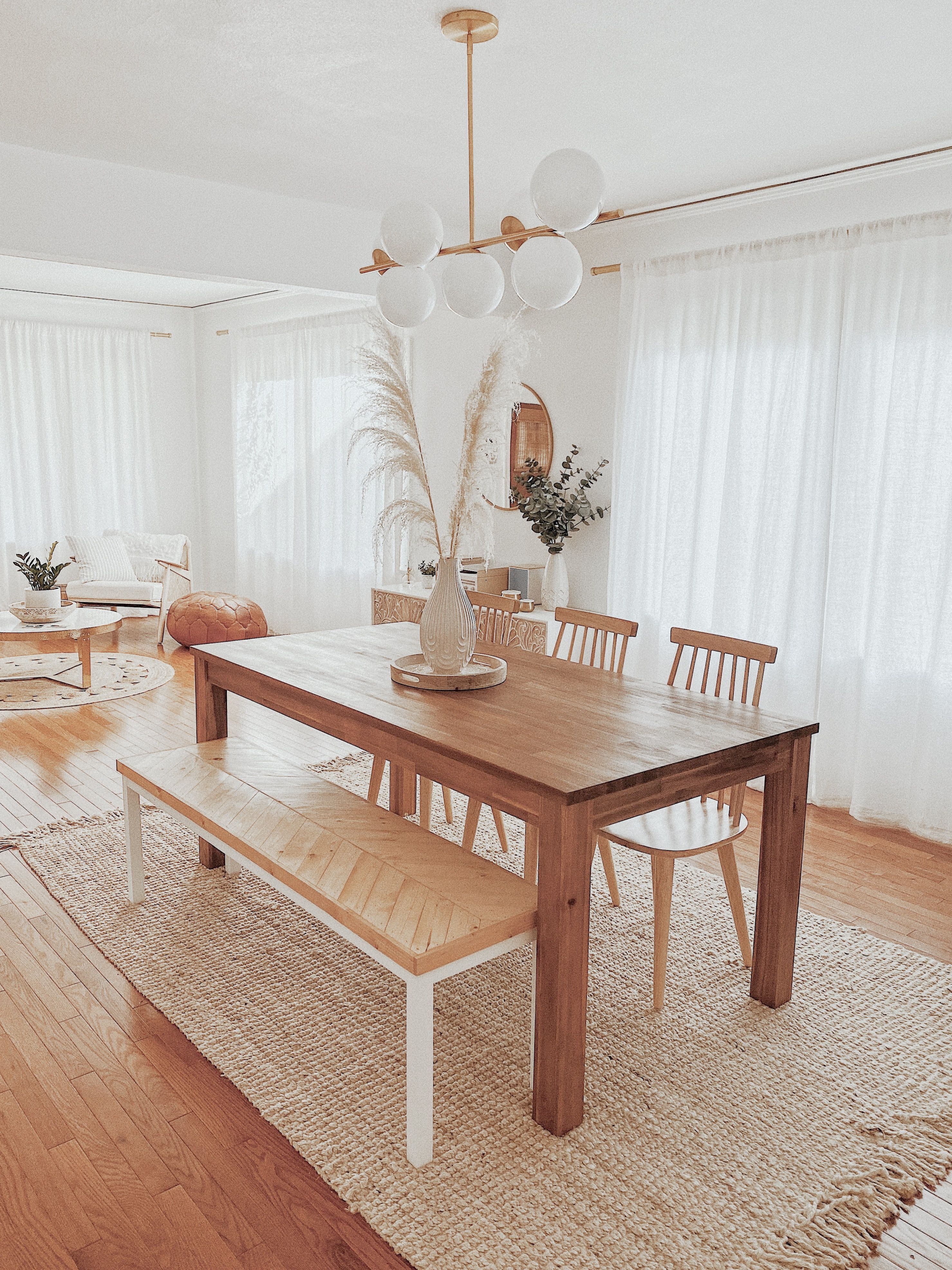 Boho Bohemian White Wood Cozy Dining Room Living Space Home Decor