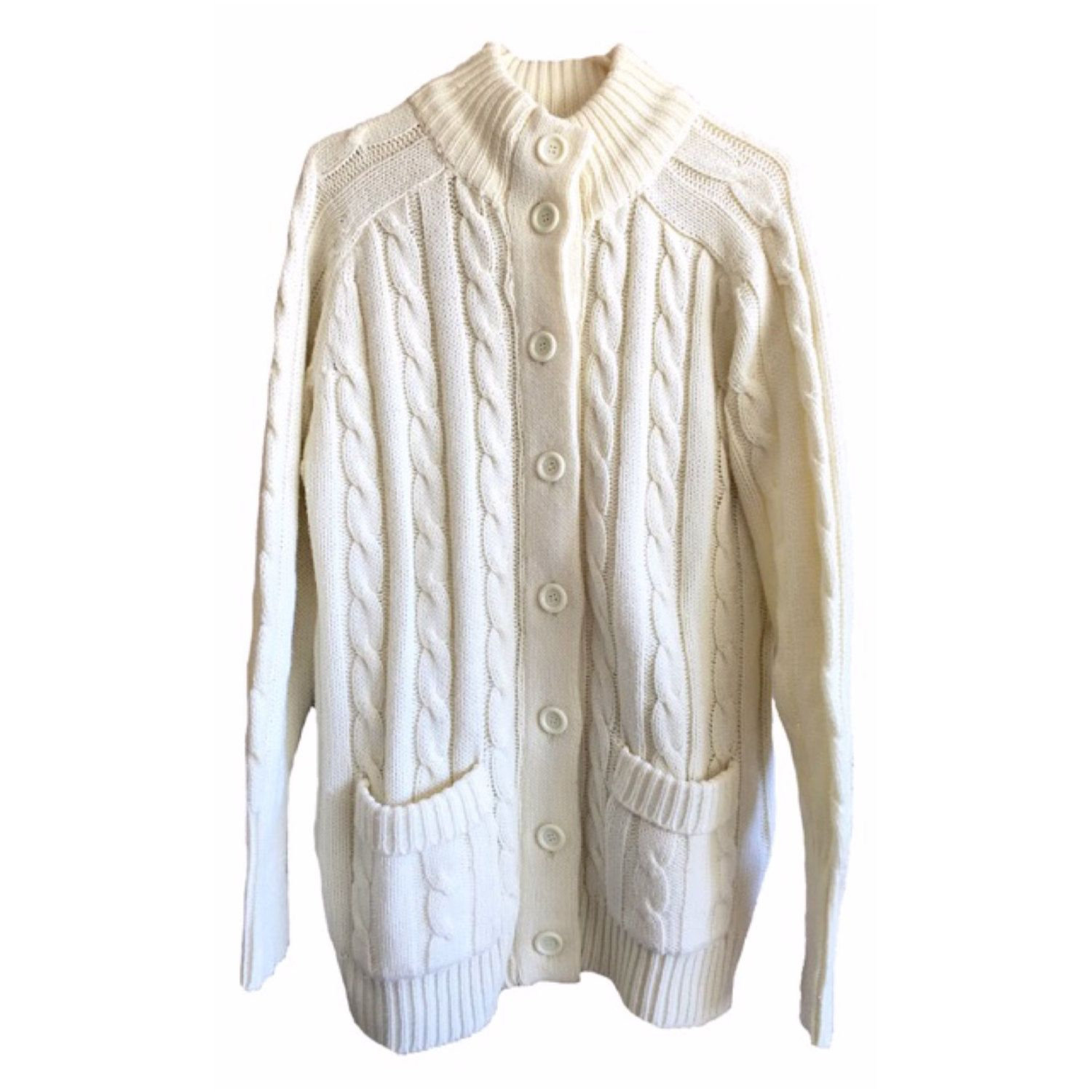 Sears Cable Knit Cardigan off white cream pockets slouchy ...