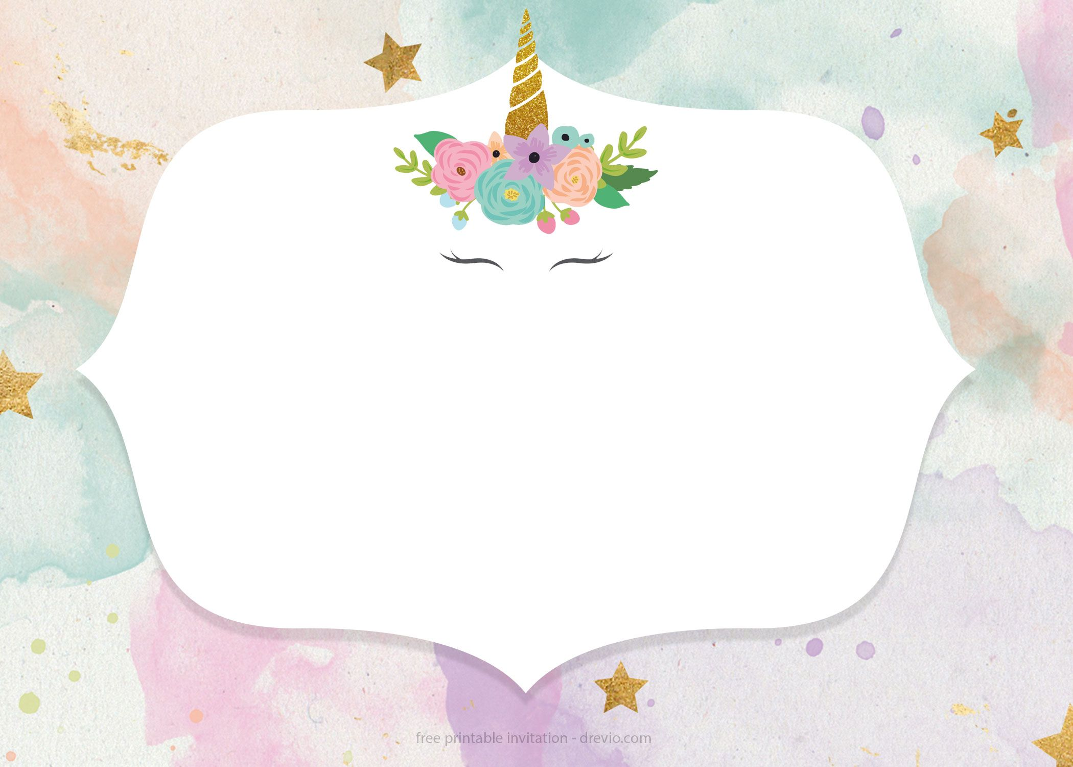 Free Whimsical Pastel Unicorn Birthday Invitation Templates Free