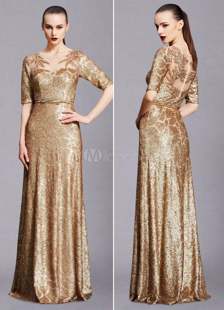 99caa9bdcebed Maxi Evening Dress Unique Gold Lace Illusion Half-sleeve A-line Sequin Floor-length  Wedding Party Dress (Including Sash) - Milanoo.com
