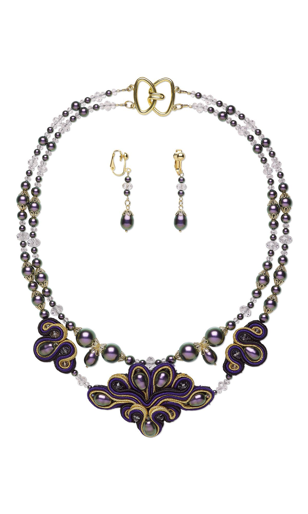 Jewelry Design - Double-Strand Necklace and Earring Set with Swarovski Crystal, Polyester Soutache Cord and Gold-Plated Brass Bead Caps - Fire Mountain Gems and Beads