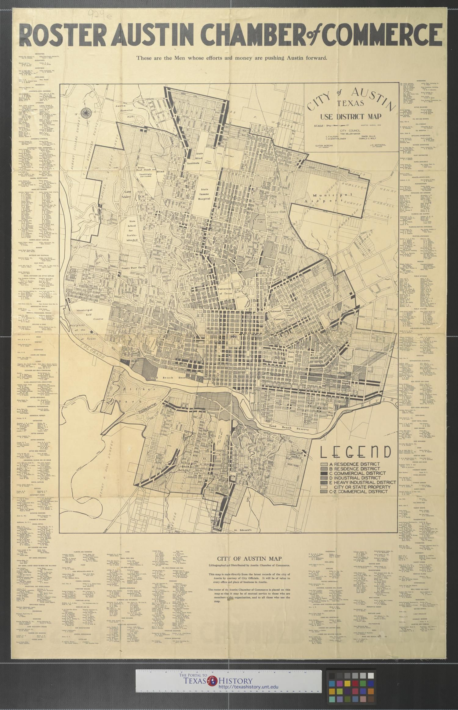 City Of Austin Texas Use District Map Map 1939 Austin Egypt Map Map Old Map