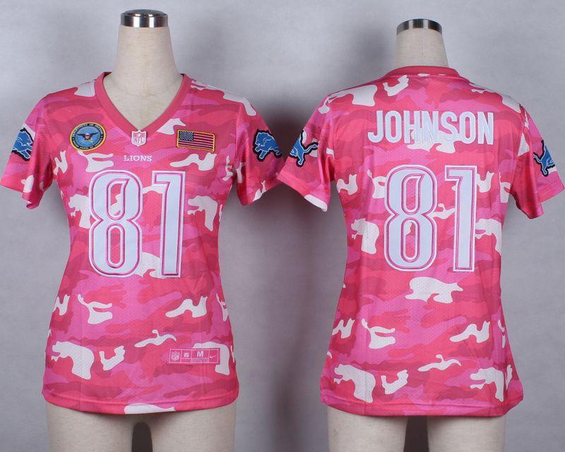 womens nike nfl detroit lions 81 calvin johnson pink elite camo fashion jersey