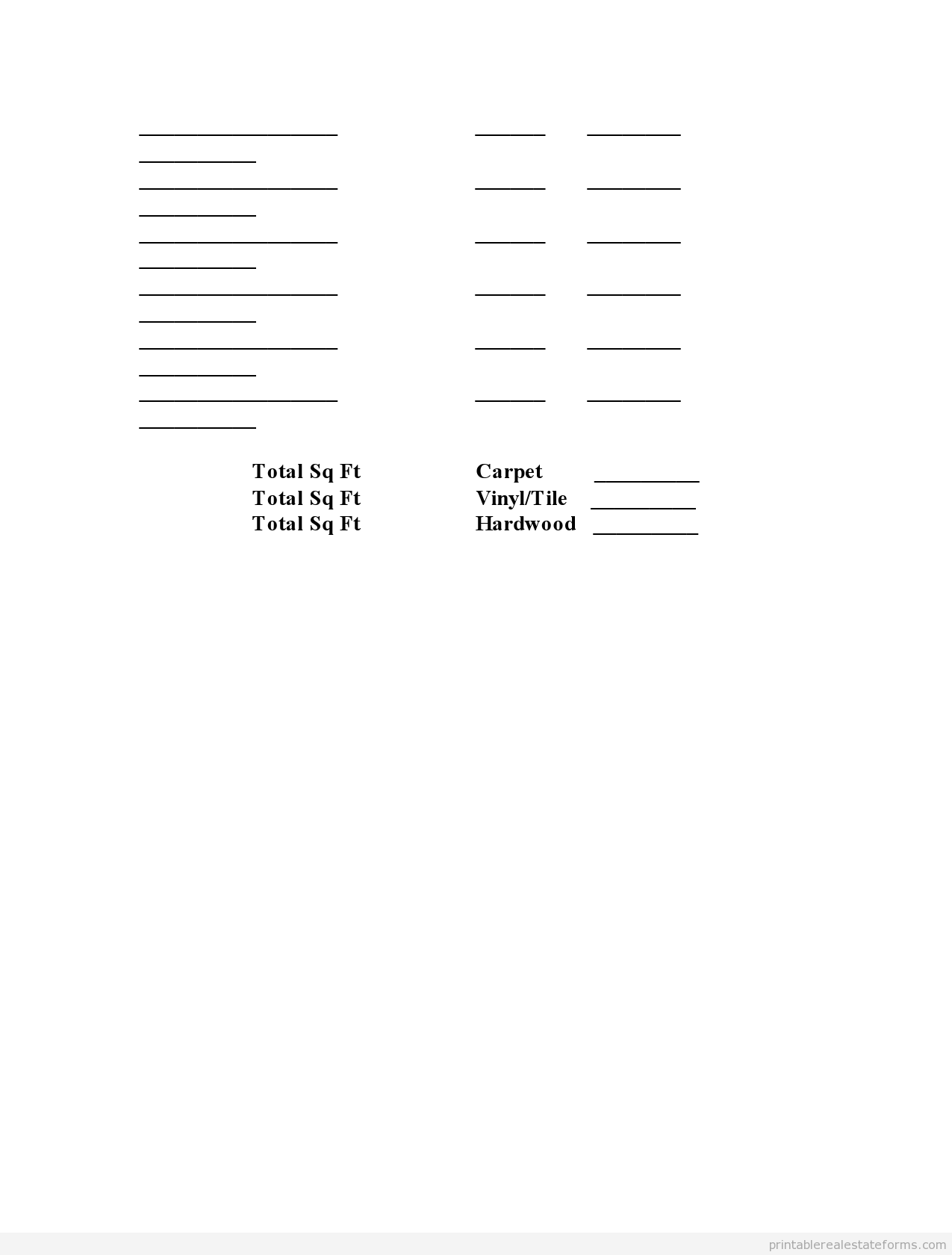 Printable Prop Insp Flooring Estimate Worksheet Template