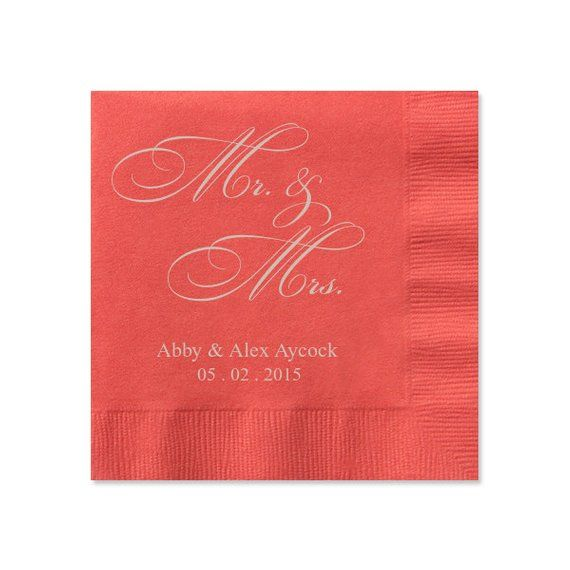 100 Personalized Mr Mrs And Wedding Napkins Custom Monogram Printed C