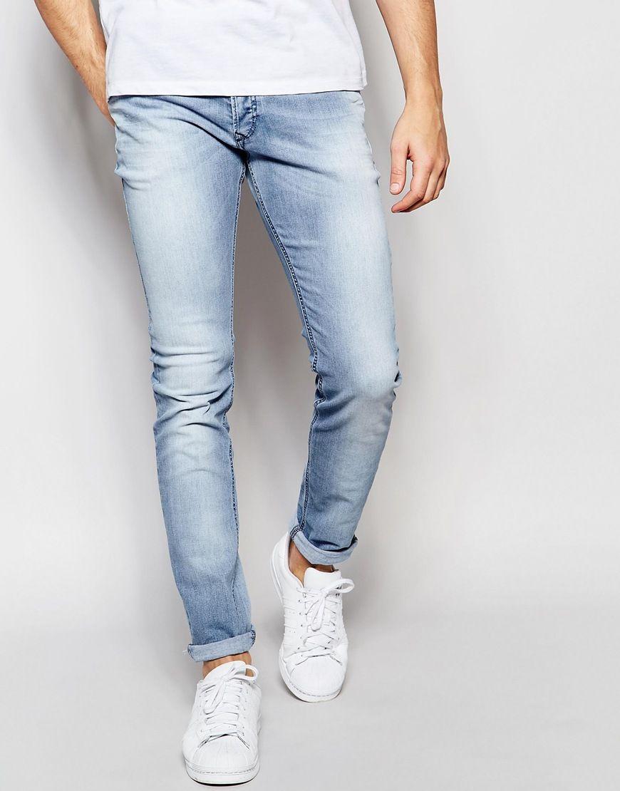 Diesel Jeans Sleenker 673E Skinny Fit Stretch Light Blue Wash at asos.com