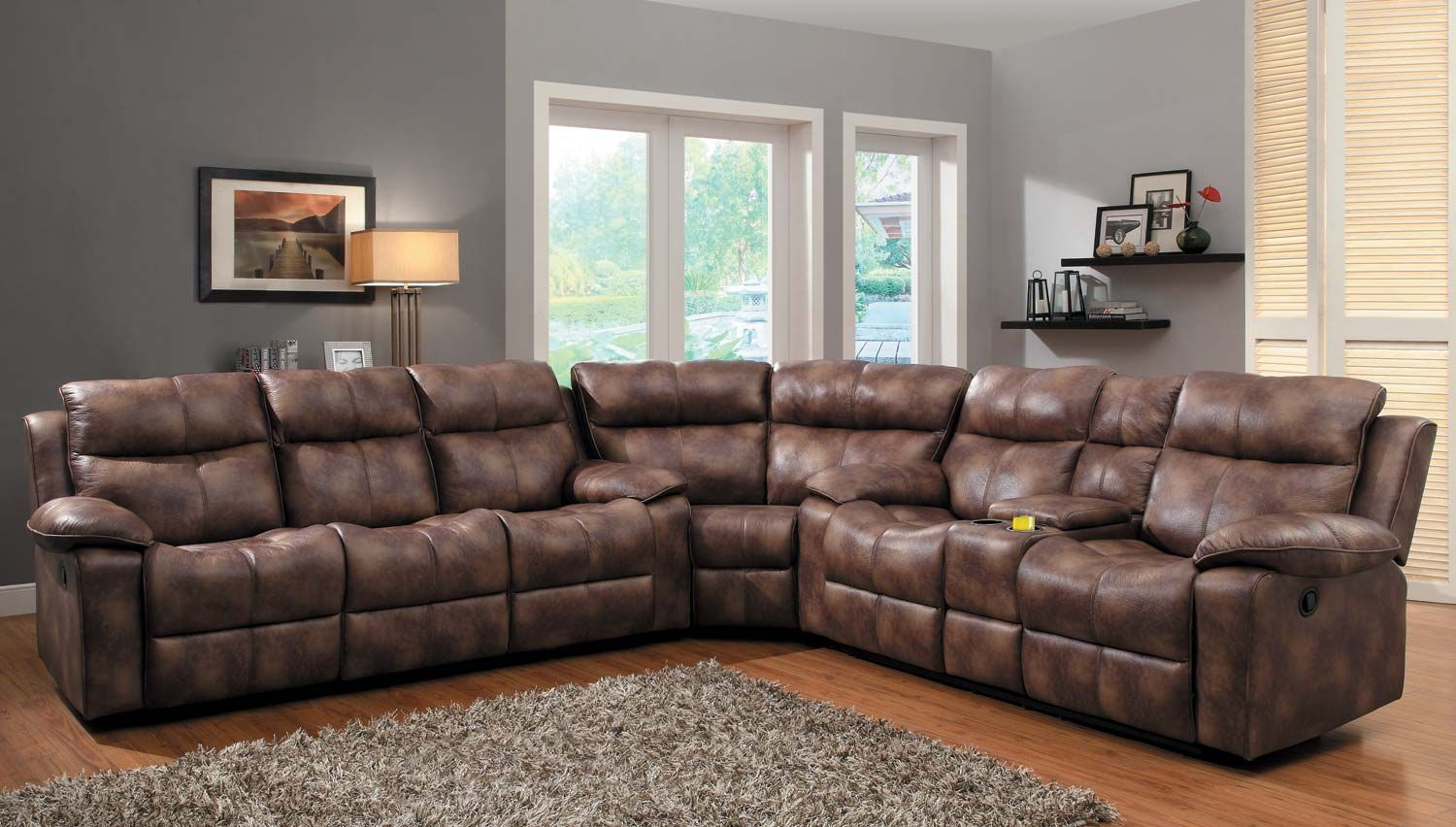 Awesome 3 Pc Brooklyn Heights Collection Polished Microfiber Upholstered Double Reclining  Sofa And Love Seat Sectional Set