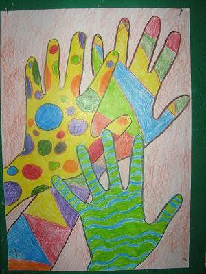 Barevne Ruce Kresba Pastelkami Linie A Tvary Hands A Painting