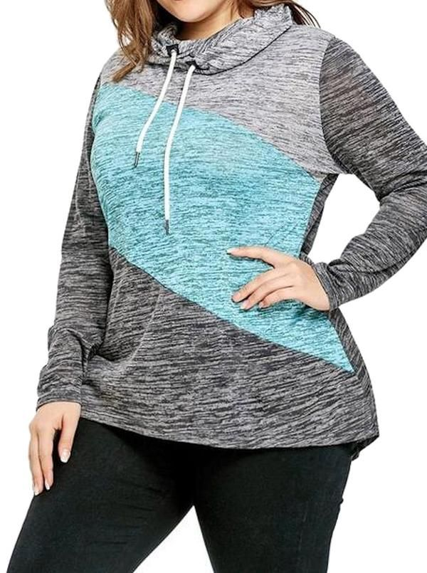 46222131d18 Plus Size Sweatshirt Color Block With Drawstring Hoodie L-4XL in ...